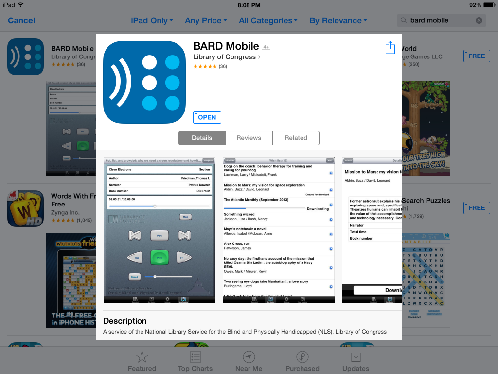 Screenshot of BARD Mobile in the Apple iTunes Store