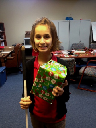 Lindsay showing off her freshly-wrapped present