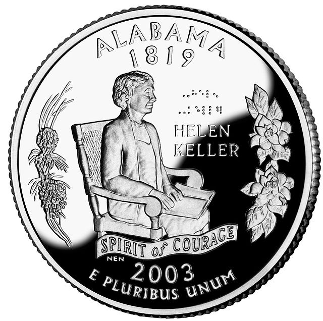 Reverse side of the Alabama state quarter, released in 2003. Image is in the public domain from Wikimedia Commons.