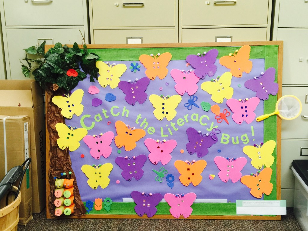 'Catch a Literacy Bug' bulletin board for braille readers