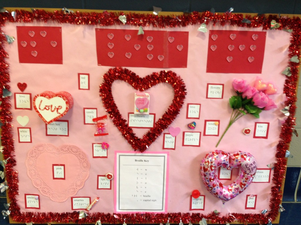 """We Love Braille"" bulletin board for blind students"