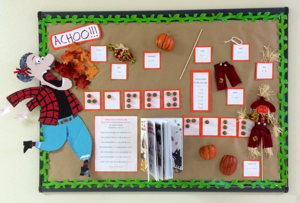 'There Was an Old Lady Who Swallowed Some Leaves' bulletin board for blind students