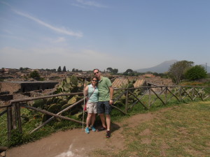 Jennifer and Daniel above Pompeii with Mt. Vesuvius in Pompeii